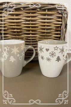 2 grote kerstmokken wit en taupe