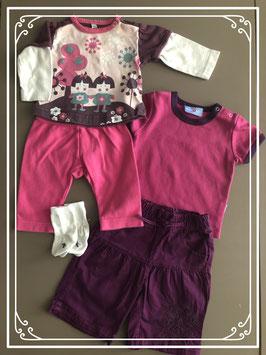 2 roze/paarse setjes - Maat 50-56
