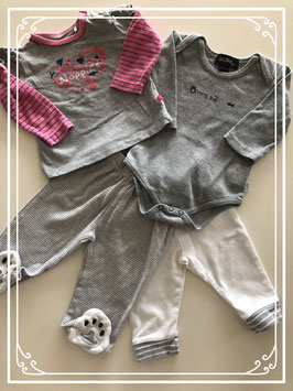 4 Delige grijze kleding set - Maat 68