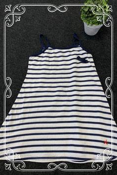 Wit jurkje met donkerblauwe strepen maat 128