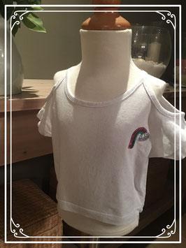 Off shoulder T-shirt met regenboog - Maat 98/104