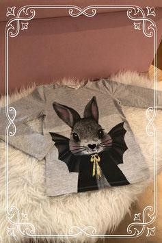 Grijs shirt met vleermuis konijntje van H&M - maat 122-128