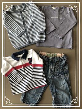 Stoere spijkerbroek met drie shirts - Maat 68