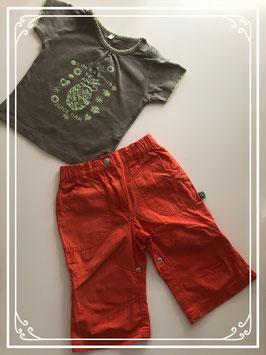 Oranje broek met ananas shirt - Maat 74
