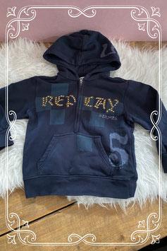 Geblokte donkerblauwe Replay trui - Maat 110-116