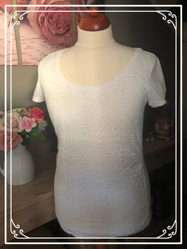 Wit korte mouwen shirt met kant van Mama Licious - Maat L