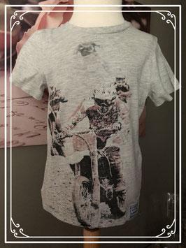 Grijs shirt met stoere motorcross opdruk-maat 116-122