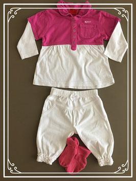 Roze/wit jurkje van Esprit met witte legging en sokjes - Maat 62