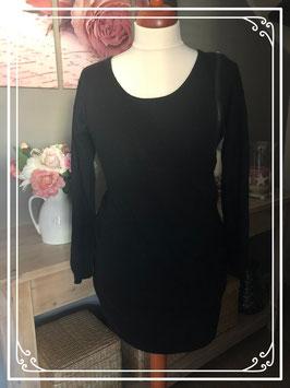 Zwarte jurk met grote rits van Mama Licious - Maat L