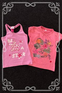 Lichtpaarse top van Summer Girl en roze shirt met opdruk in maat 122/128