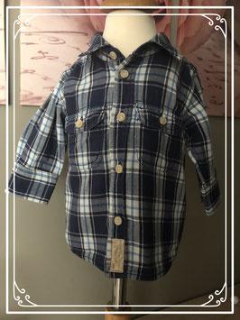 Donkerblauw geruite blouse merk H&M - maat 62