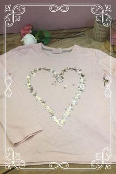 Lichtroze lange mouwen shirt met pailletjes en steentjes - Maat 128-134