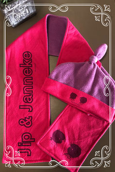 Roze met paarse winterset van Jip en Janneke - voor 6-8 jaar