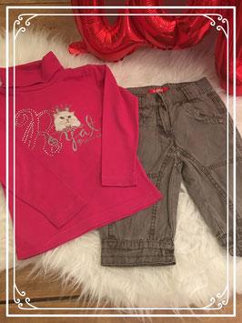 Roze shirt van someone en bruine broek van Girls - Maat 92