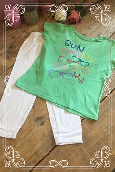 Groen T-shirt met witte legging (merkloos) - Maat 122/128