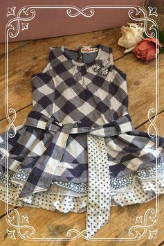 Blauw geruit jurkje van het merk Bakkaboe - maat 80