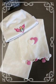 2-delige set met muts van Barbie en sjaal met hartjes - voor 5-10 jaar