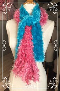 Dames Roze en blauwe fluffy sjaal