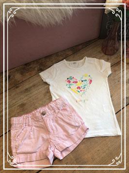 Korte broek met roze/witte strepen en wit T-shirt - Maat 98