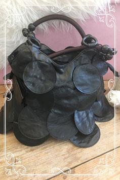 Zwarte schoudertas met kralenband