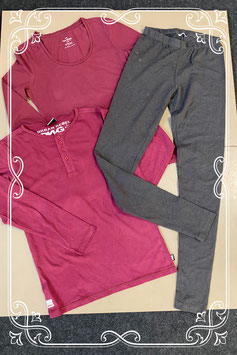 Nieuw! 2 bordeauxrode longsleeves van WE en Urban Rebel en donkergrijze legging van Hema maat S