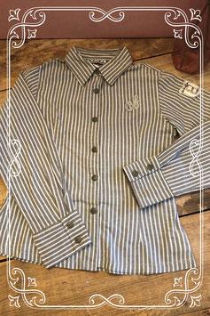 Grijs-wit gestreepte blouse van Barbara Farber-maat 134-140