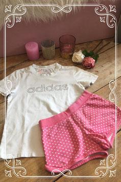 Wit Adidas T-shirt met gestipt broekje - Maat 134/140