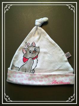 Wit mutsje met Marie de kat van Aristocats - voor een meisje van 1 jaar