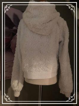 Zacht wit vest met capuchon  - Maat 122-128