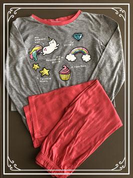 pyjama grijs-koraal met leuke opdruk- maat 128-134