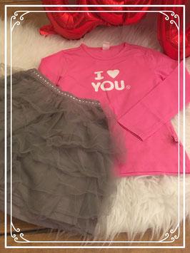 Roze shirt met grijze rok van Friendz & Okaou - Maat 104
