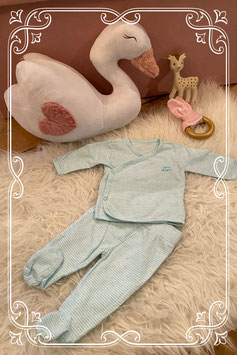 Tweedelig blauw wit gestreept pyjamaatje - maat 56