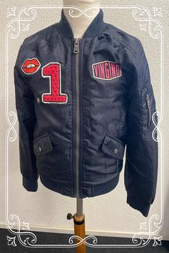Super stoere donkerblauwe jas van Vingino maat 140