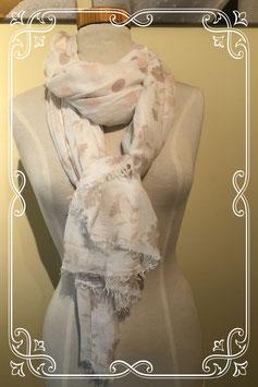 Zachte warme sjaal met bolletjes en bloemen