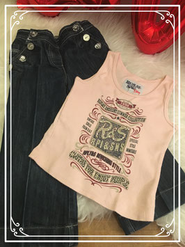 Wijde spijkerbroek met roze hemd van Replay - Maat 98