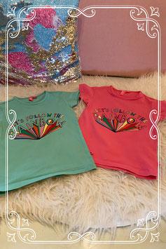 Roze en groen shirt met regenboog van Wibra maat 104