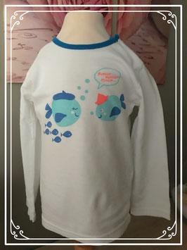 Wit lange mouwen shirtje met visjes van HEMA - Maat 86-94