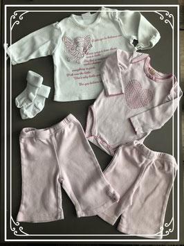 Meegroei setje roze / wit - Maat 50-56