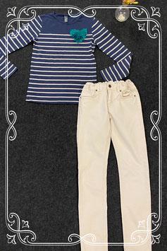 Mooie longsleeve van Zara Kids en beige broek van H&M maat 152