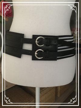 Zwart witte elastische riem - maat 75