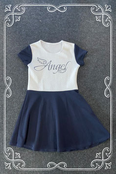 Feestelijk wit met donkerblauw jurkje Angel in maat 134