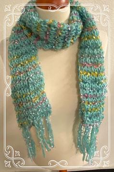 Leuke blauwe sjaal met gekleurde stiksels voor dames