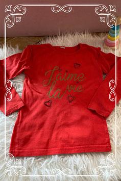 Rood t-shirt met lange mouwen - maat 110-116