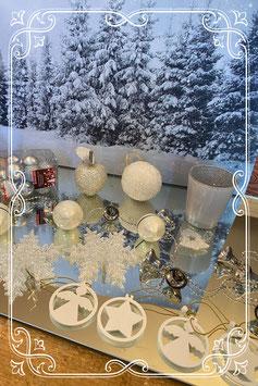 Witte en zilveren kerst decoratie