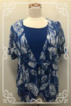 Blauw shirt met aangehect vestje van Forever by Michael Gold in maat XL