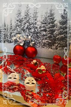 Set met rode kerst decoratie