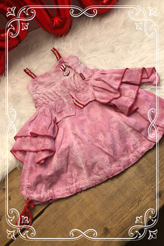 Oudroze jurkje met rode details van Carbone - Maat 92