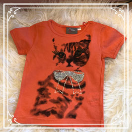 Oranje T-shirt met poes van Blue Queen - Maat 98/104