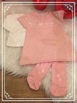 Roze gebreide jurk set van Tex baby - Maat 62