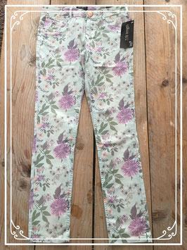 Nieuw: Blauwe broek met bloemen patroon - Maat 170